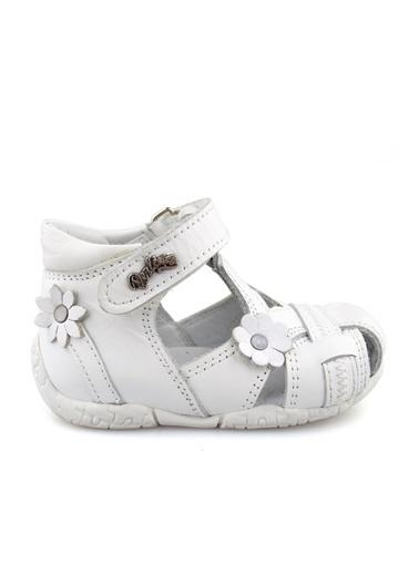 Cici Bebe Ayakkabı Cicibebe Deri Çiçekli Nubuk Detaylı Arkası Kapalı Fuşya Kız Çocuk Spor Ayakkabısı Beyaz